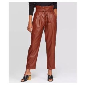 NWT Who What Wear Faux Leather Paperbag Pants